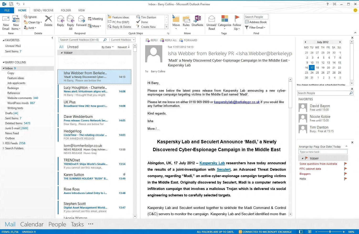 Interfaz del Outlook 2014
