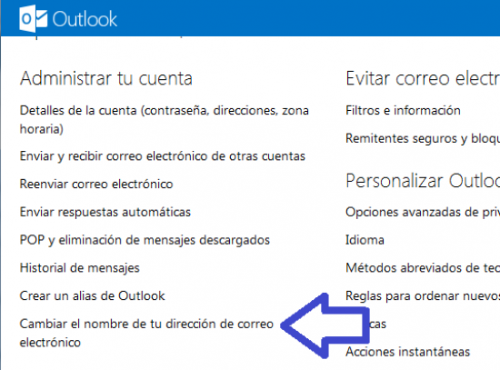 outlook.com como modificar la direccion