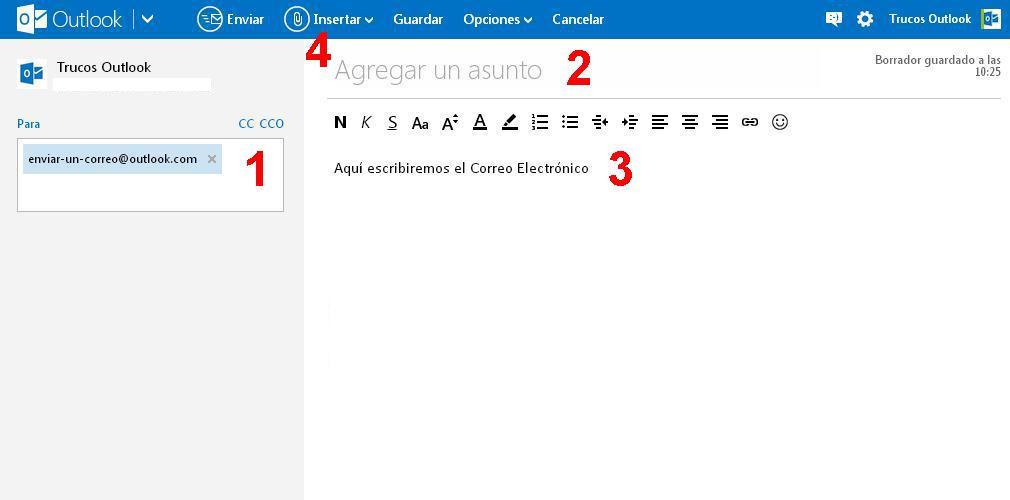pasos para enviar un correo electronico