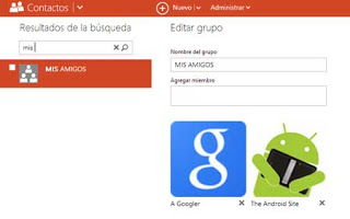 contactos y grupos en outlook